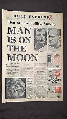 Collectable Original Vintage Daily Express 1969 Newspaper  Man Is On The Moon