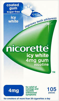 NICORETTE 4mg FULL STRENGTH icy white sugar free gum - 105 pieces