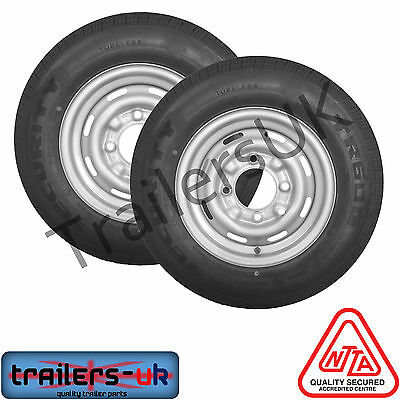 """2 x 165/R13C - PCD 4 Stud on 5.5"""" Trailer Wheel - *FREE Delivery*"""