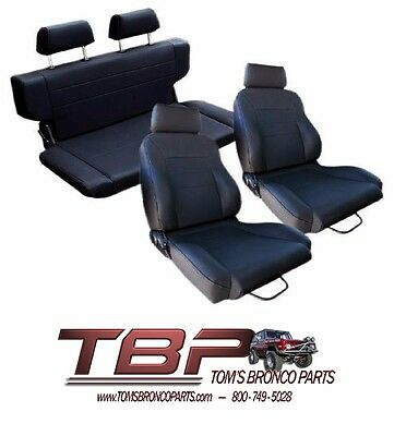Fantastic 1966 1977 Early Ford Bronco Black Front Rear Seat Kit Uwap Interior Chair Design Uwaporg