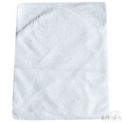 Beautiful Soft Plain White Infant /Baby Hooded Bath Towel- Robe (White)