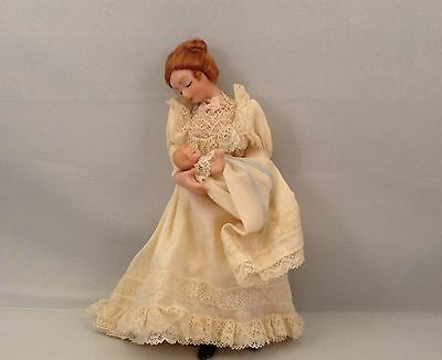 Handmade Miniature Victorian Mother with Baby Doll,1:12, Artist Made