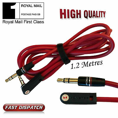 1.2M RED 3.5mm Jack Plug To Plug Male Cable - Audio Lead Headphone/iPod/Aux/MP3