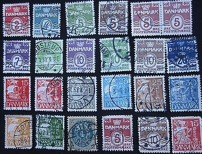 24  Denmark  Stamps  From  Old  Album