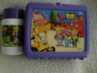 2001 Vintage Retro complete Bob The Builder Plastic lunchtime box W/Thermes