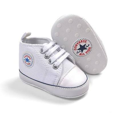 Baby Boys Girls White Canvas Shoes Converse Brand New