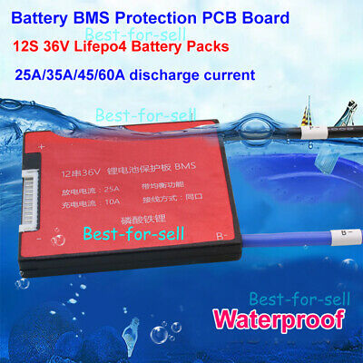 Waterproof Lifepo4 BMS 12S 36V 25A 35A 45A 60A LFP Battery PCB PCM with Balance