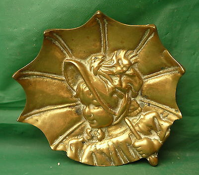 Cute  Vintage Heavy Brass Girl Holding Umbrella Dish Plate Ornament