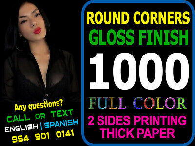 LOOK 1000 ROUND CORNERS - Full Color UV Gloss Custom Business Cards Must See!!!