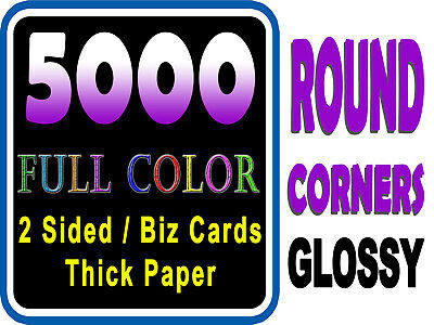 LOOK 5000 ROUND CORNERS - Full Color UV Gloss Custom Business Cards Must See!!!