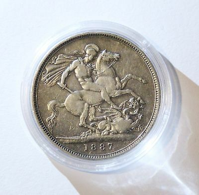 Great Britain - Queen Victoria Sterling Silver Crown 1887 Nice Coin