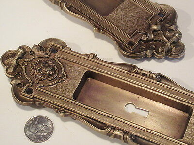 Set 2 Quality R&E Lion Head Antique Ornate Pocket Door Pulls Bronze 1889 Ex.Cond