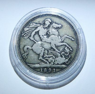 Victoria Silver Crown 1891 In Coin Capsule