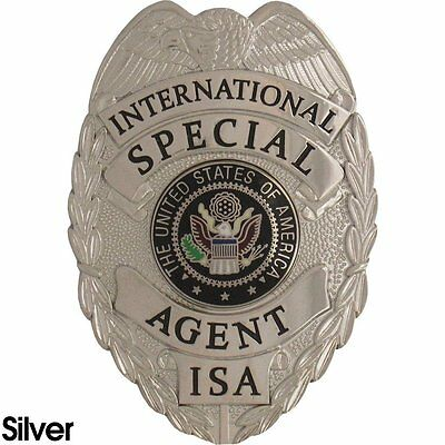 435 International Special Agent Badge Set Silver Finish-Includes Free Badge Case