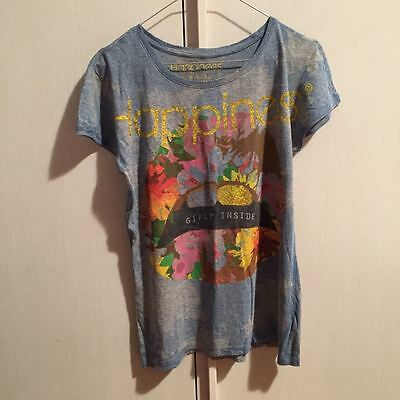 T-shirt donna Happiness, color jeans con stampa, taglia S