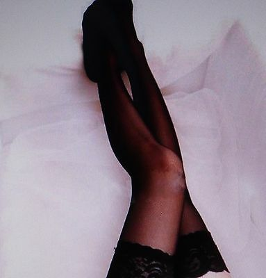 Lace Top Stockings Black