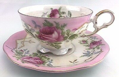 Vintage Lefton China Hand Painted  Roses pink tea Cup and Saucer
