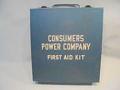 Vtg Consumers Power First Aid Kit Metal Box w/ stuff in it Excellent Collectible