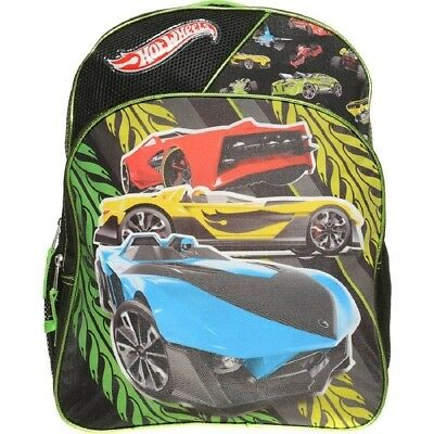 Hot Wheels Boys Backpack Cars Black Green COMES WITH CAR