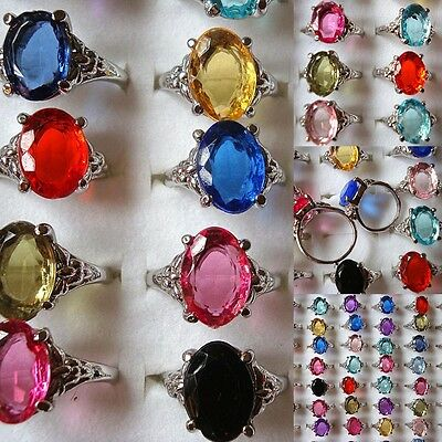 Wholesale Fashion Jewelry Lots 10pcs Crystal Silver Plated Rings Wedding Rings