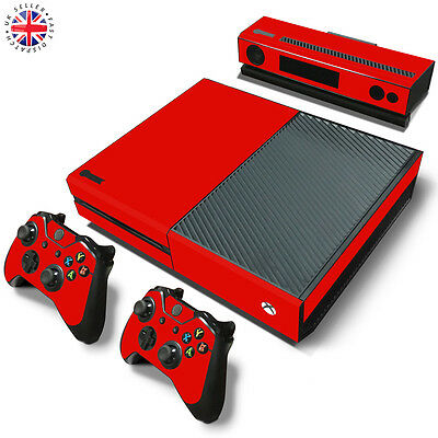 RED XBOX ONE Wrap Skin Sticker Dust Cover CONSOLE + CONTROLLERS + KINECT