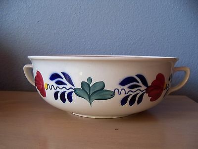Stoneware Casserole Bowl Boerenbont Floral Pattern Boch Belgium in the Holland