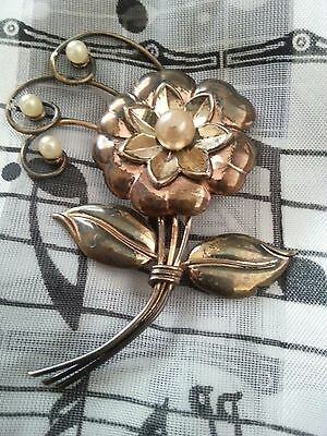 Antique Brooch (Signed Harry Iskin) Faux pearls.