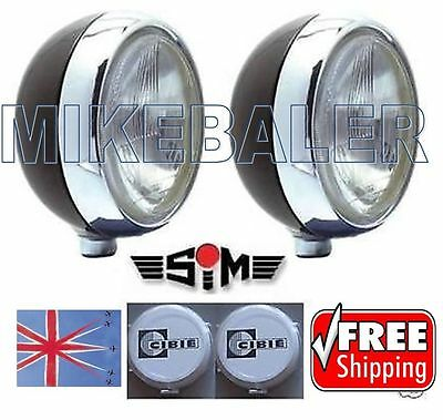 "2x 7"" SIM DRIVING SPOT LAMPS LIGHTS WITH CIBIE OSCAR COVERS AND BULBS! SPOTLIGHT"