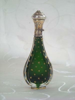 Superb Antique French Perfume Scent Bottle Silver Gilt Lid Circa 1880