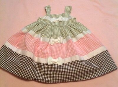 Crazy8, Brown,pink,green Gingham Baby Dress. 12-18 Months.