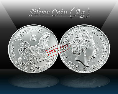 UK (GREAT BRITAIN) 2 Pounds 2017 (LUNAR - Year of the ROOSTER) Silver coin *UNC