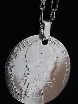 1787 George III solid silver shilling coin necklace