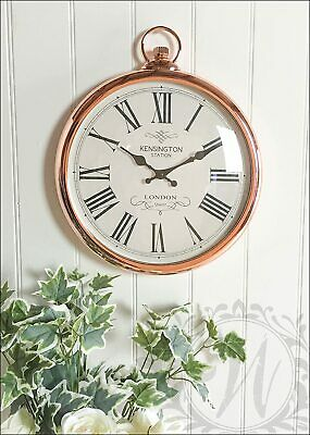New Large Round Silver Pocket Watch Fob Style Wall Clock 40Cm Boxed