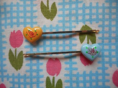 Two vintage fashion 60's kitsch hair bobby pins, clips, grips, slides - hearts