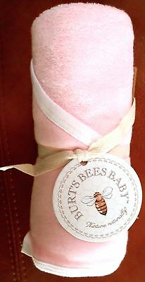 Burt's Bees Baby Girls Organic Cotton Hooded Towel Pink/White Solid 29x29