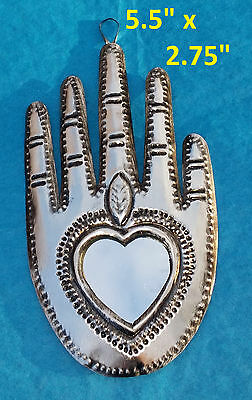 La Mano Art Mexican Handmade Tin Ornament Heart in Hand Mirror Milagro 2/$16