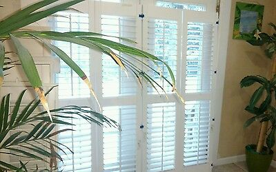 "New Interior Solid Wood Plantation Shutters White 2.5"" Louvers 3 Pairs Available"