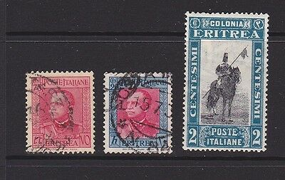 Three stamps of Italian Eritrea