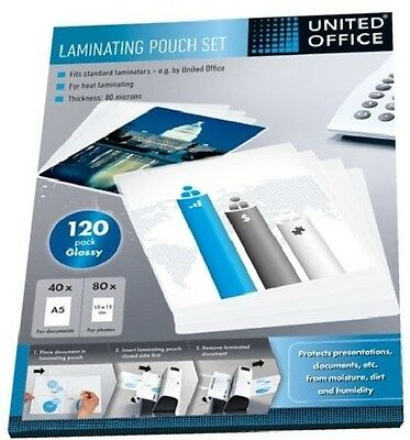 United Office Laminating Pouch Set- 120 per pack A5 + Photos Transparent Pouches