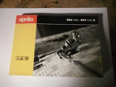 APRILIA  RSV MILLE and R  models  HANDBOOK MANUAL AND MAINTENANCE NOT FOR UK