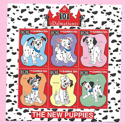 GAMBIA 1997 - Walt Disney -101 Dalmatians THE NEW PUPPIES Mini Sheet of 6 - MNH