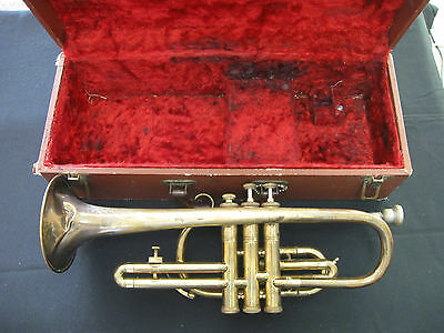 Vintage Arcadia Made In Germany Trumpet Or Cornet With Case Needs TLC Coronet