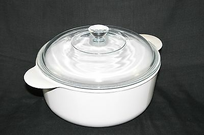 Small round casserole/serving dish, white with clear lid 'Pyroflam' by Pyrex
