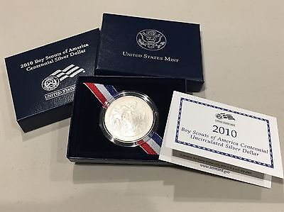 2010 Boy Scouts of  Centennial Silver Dollar in Box w/ COA