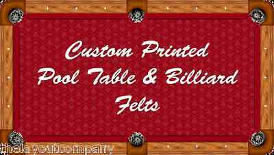 CUSTOM PRINTED 8' POOL TABLE / BILLIARD FELTS - Includes Printing Your Artwork