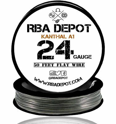 24 Gauge AWG Premium Kanthal Flat Ribbon Wire A1 Resistance 50 ft Roll (Black)