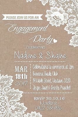 Engagement Lace Vintage Rustic Invite Party Invitation Wedding All Occasions