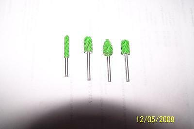 10% Discount 4 PC Saburr Tooth Carbide Burrs 1/8 inch shaft Green Made in USA