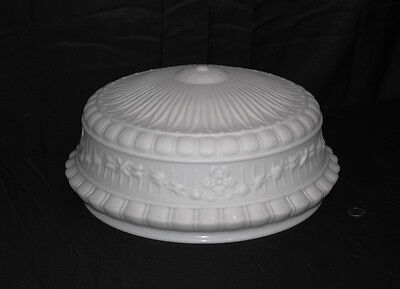 "Beautiful Antique Victorian White Bowl Light Fixture Shade 1900 14""fitter"