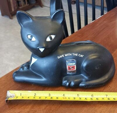 VINTAGE 1981 BANK Union Carbide EVEREADY BATTERY Save With The Cat BLOW MOLD